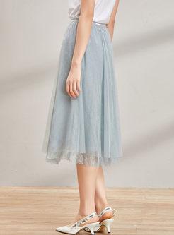 Street Solid Color Gauze A Line Skirt