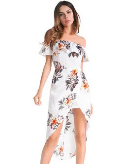 e0cc8501eb0 Sexy Off Shoulder Asymmetric Hem Print Sheath Dress ...