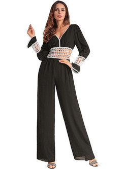 Sexy Hollow Slim V-neck Jumpsuits
