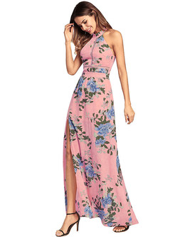 Sexy Halter Neck Split Print Maxi Dress