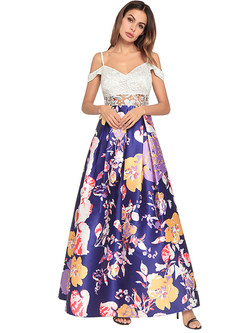 Sexy Lace Floral Print High Waist Maxi Dress