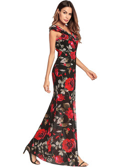 Sexy Bohemia Print V-neck Split Maxi Dress