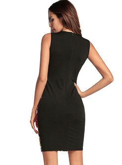 Sexy Deep V-neck Mini Sheath Club Dress