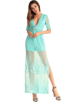 Brief V-neck Lace Perspective Maxi Dress