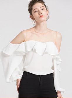 White Round Neck Puff Sleeve Blouse