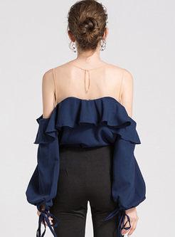 Navy Round Neck Puff Sleeve Blouse
