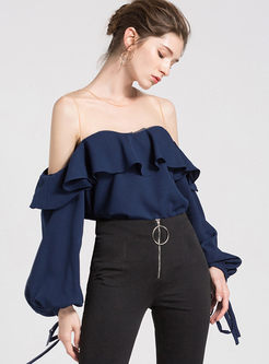 Navy Round Neck Puff Sleeve Blouse