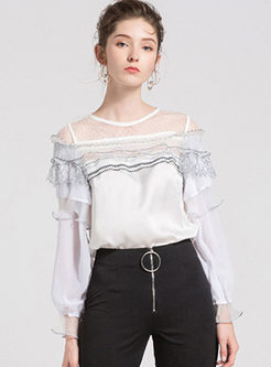 White Stylish Gauze Stitching All-match Blouse