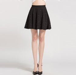 Black Chiffon Beaded A Line Mini Skirt