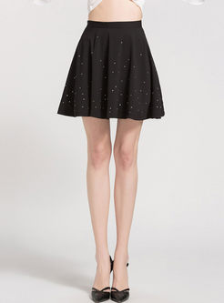 Black Chiffon Beaded A Line Skirt