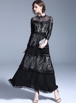 Black See Through Lace Prom Dress