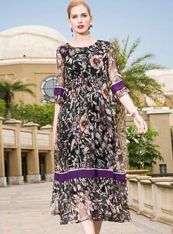 Silk Floral Print High Waist Maxi Dress