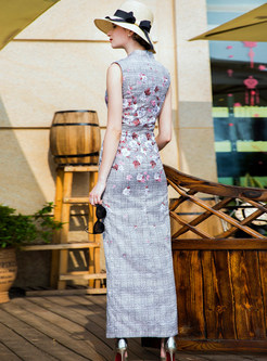 Vintage Floral Print Sheath Maxi Dress