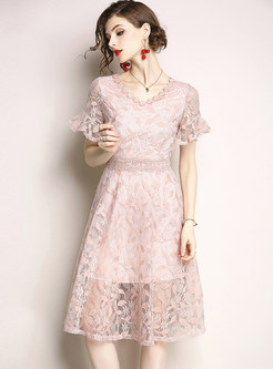 Pink Lace Flare Sleeve A Line Dress