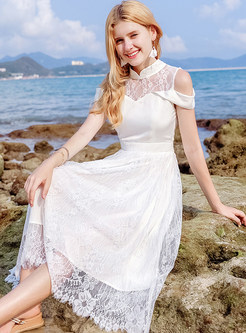 White Elegant Perspective Lace Dress