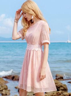 Pink Embroidery Waist Chiffon Dress