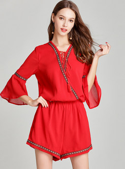 Red Casual Flare Sleeve Rompers