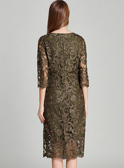Lace Embroidery Three Quarters Sleeve Midi Dress