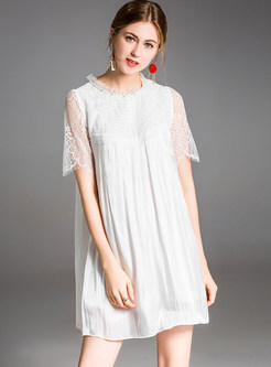 White Loose Lace Splicing Shift Dress