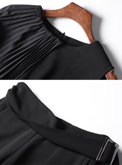 Black Brief Splicing Slim Two-piece Outfits