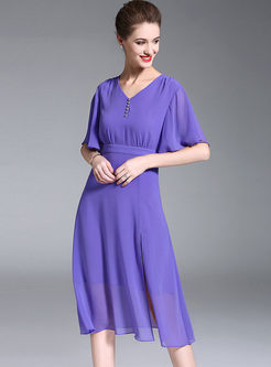 Chiffon Solid Color Flare Sleeve Dress