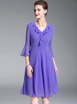 Purple Chiffon Ruffle A Line Dress