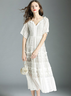 White Mesh Embroidery Lace Maxi Dress