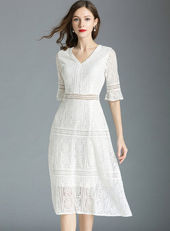 Hollow Out Flare Sleeve Midi Dress