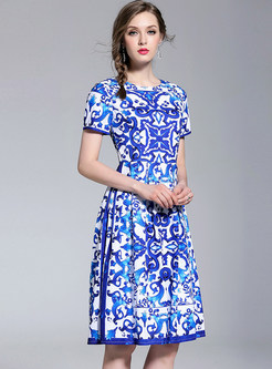 Ethnic Print Short Sleeve A Line Dress