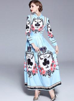 Blue Print Single-breasted Lapel Maxi Dress