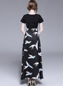 Black High Waist Big Hem Maxi Dress
