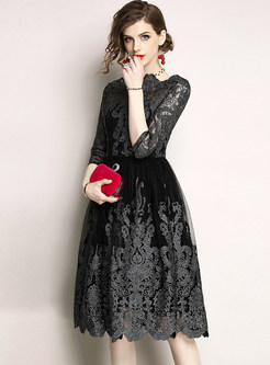 Elegant Gauze Embroidery Prom Dress