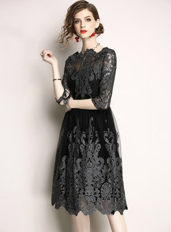 Elegant Gauze Embroidery Prom Dress