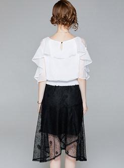 23cd1100fc163 ... White Off Shoulder Blouse   Black Asymmetric Skirt ...