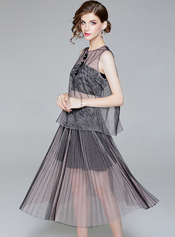 Black See Through Top & Gauze Pleated Skirt