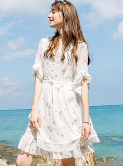 White Ruffle Sleeve Splicing Chiffon Dress