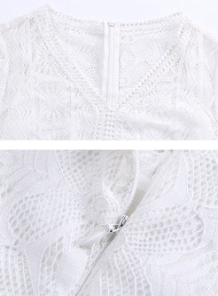 White Chic Flare Sleeve Lace Dress