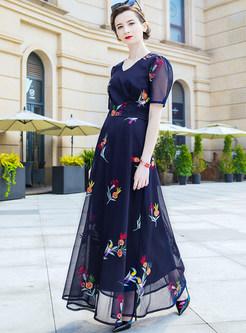 Mesh Big Hem Printing Maxi Dress
