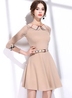 Khaki Plaid Lace Splicing A Line Dress
