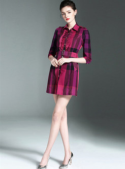Fashion Stringy Selvedge Splicing Shirt Dress