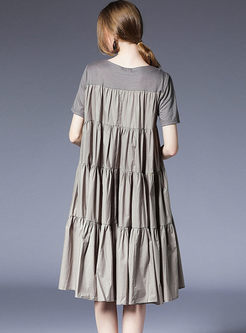 Grey Ruffle Plus Size Splicing Shift Dress