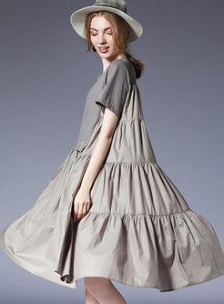 Grey Ruffle Plus Size Splicing Shift Dress