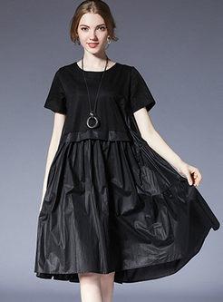 Black Ruffle Plus Size Splicing Shift Dress