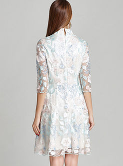 Elegant Spangle Embroidery Vintage A Line Dress