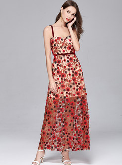 Party Embroidery Stereoscopic Flower Sequin Strapless Maxi Dress