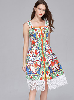 Ethnic Floral Print Lace A Line Dress