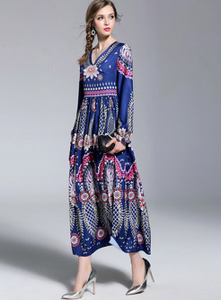 Retro V-neck Print Slim Maxi Dress
