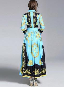 Court Print Lapel Waist Maxi Dress