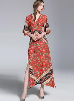Bohemia Floral Print V-neck Split Maxi Dress