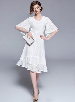White Lace Flare Sleeve Asymmetric Mermaid Dress